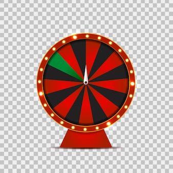 Realistyczne koła ruletki fortuny na przezroczystym tle. koncepcja kasyna, spin, loterii i wygranej.