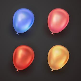 Realistyczne kolekcje balonów 3d ustawione na element projektu urodzinowego