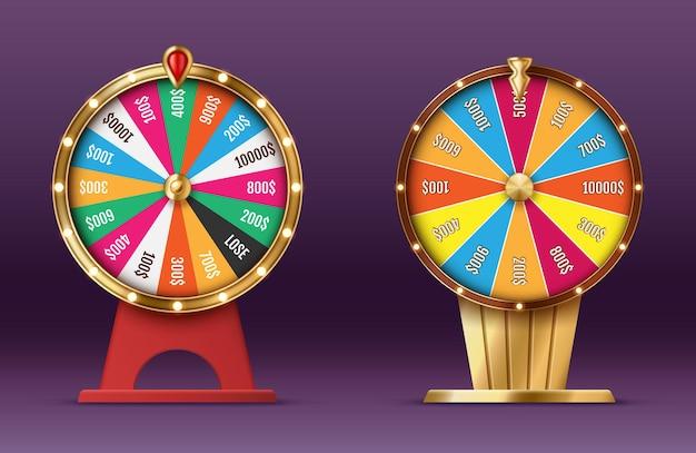 Realistyczne koło fortuny kręci się w kasynie. obrotowa ruletka, gra na loterii na białym tle. firma hazardowa