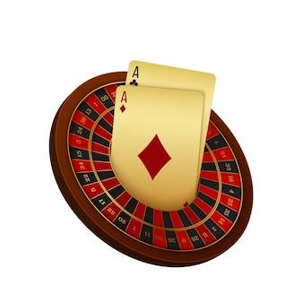 Realistyczne koło ruletki i karty w kasynie