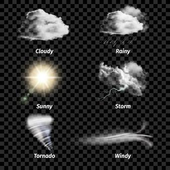 Realistyczne kolorowe ikony pogody na białym tle zestaw z rodzajem pogody