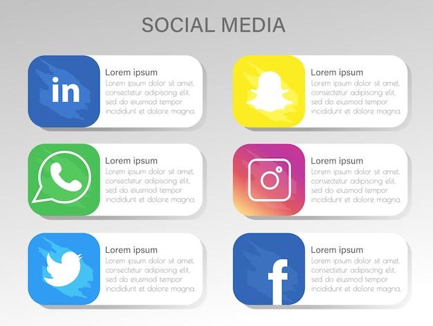 Realistyczne kolorowe ikony popularnych mediów społecznościowych