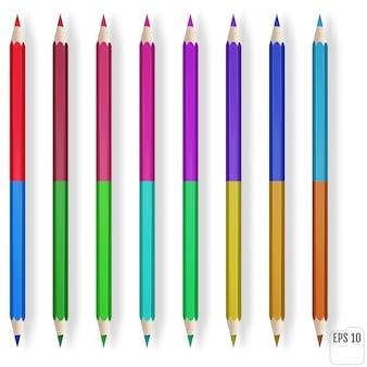 Realistyczne kolorowe kredki na białym tle. niebieski, zielony, czerwony, żółty drewniany ołówek do edukacji szkolnej.