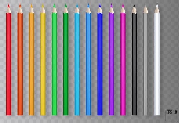 Realistyczne kolorowe kredki na przezroczystym tle. niebieski, zielony, czerwony, żółty drewniany ołówek do edukacji szkolnej.