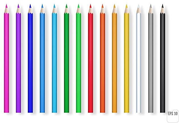 Realistyczne kolorowe kredki. niebieski, zielony, czerwony, żółty drewniany ołówek do edukacji szkolnej.