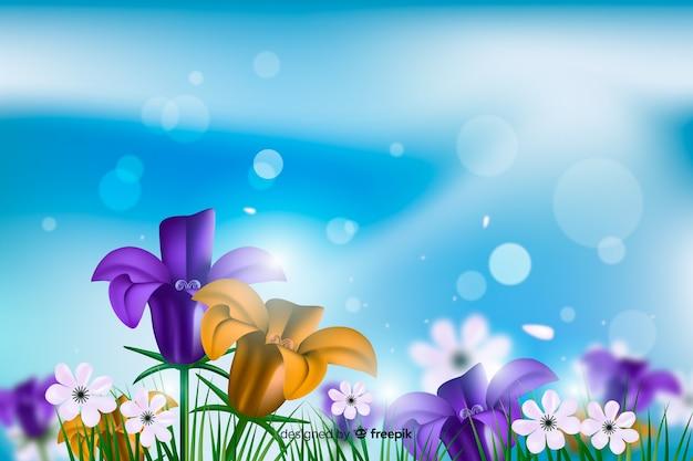 Realistyczne kolorowe kwiaty w tle