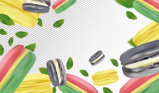 Realistyczne kolorowe makaroniki na przezroczystym tle. francuskie makaroniki w ruchu z zielonymi liśćmi.