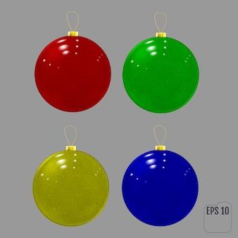 Realistyczne kolorowe szklane bombki. kolorowe teksturowane świąteczne dekoracje.