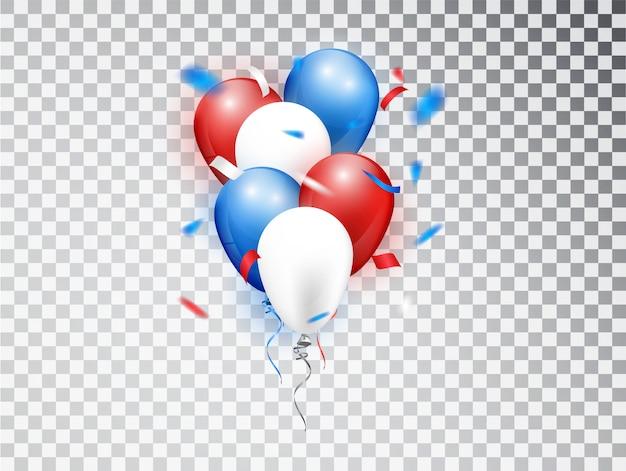 Realistyczne kompozycje balonów w kolorach czerwonym, niebieskim i białym. elementy izolowane na święta narodowe lub przyjęcie urodzinowe