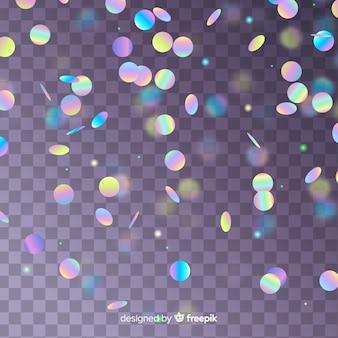Realistyczne konfetti holograficzne spadające tło