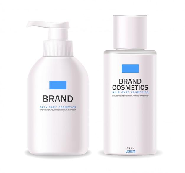 Realistyczne kosmetyki, biała butelka, opakowanie produktu do pielęgnacji skóry, zabieg, izolowany pojemnik