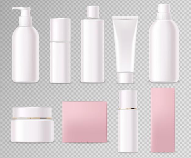 Realistyczne kosmetyki, biały zestaw butelek, makieta opakowania, pielęgnacja skóry, krem nawilżający, toner, środek czyszczący, surowica, karta upiększająca, zabieg na twarz, pojemnik na białym tle 3d przezroczyste tło wektor