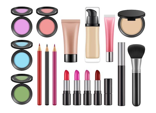 Realistyczne kosmetyki dekoracyjne. szminka, rumieniec kredki korektor na białym tle wektor zestaw. kosmetyk do makijażu, podkład produktu dla ilustracji kobiety