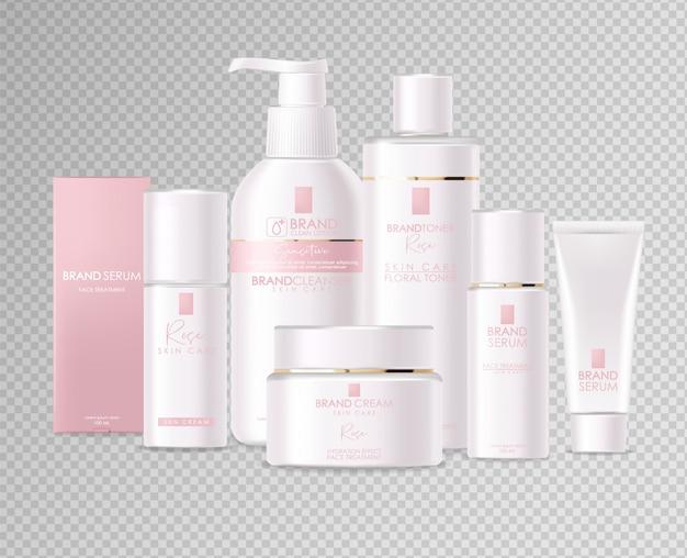 Realistyczne kosmetyki, różowy design, biały zestaw butelek, makieta opakowania, pielęgnacja skóry, krem nawilżający, toner, środek czyszczący, serum, karta upiększająca, zabieg na twarz, pojemnik na białym tle 3d białe tło