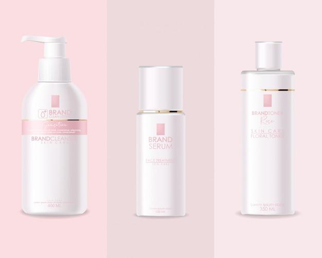 Realistyczne kosmetyki, różowy design, biały zestaw butelek, makieta opakowania, pielęgnacja skóry, krem nawilżający, toner, środek czyszczący, serum, karta upiększająca, zabieg na twarz, pojemnik na białym tle 3d
