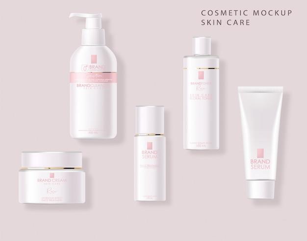 Realistyczne kosmetyki, różowy design, biały zestaw butelek, makieta opakowania, pielęgnacja skóry, krem nawilżający, toner, środek czyszczący, surowica, karta upiększająca, zabieg na twarz, pojemnik na białym tle 3d różowe tło