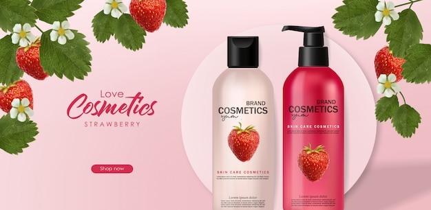 Realistyczne kosmetyki z truskawkami, pielęgnacją skóry, kosmetykami letnimi, formami geometrycznymi, szamponem i odżywką, opakowaniami do butelek