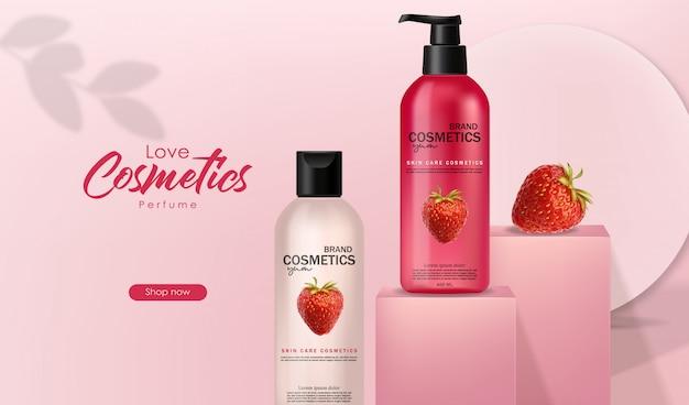Realistyczne kosmetyki z truskawkami, pielęgnacją skóry, kosmetykami letnimi, formami geometrycznymi, szamponem i odżywką, różowym opakowaniem butelki