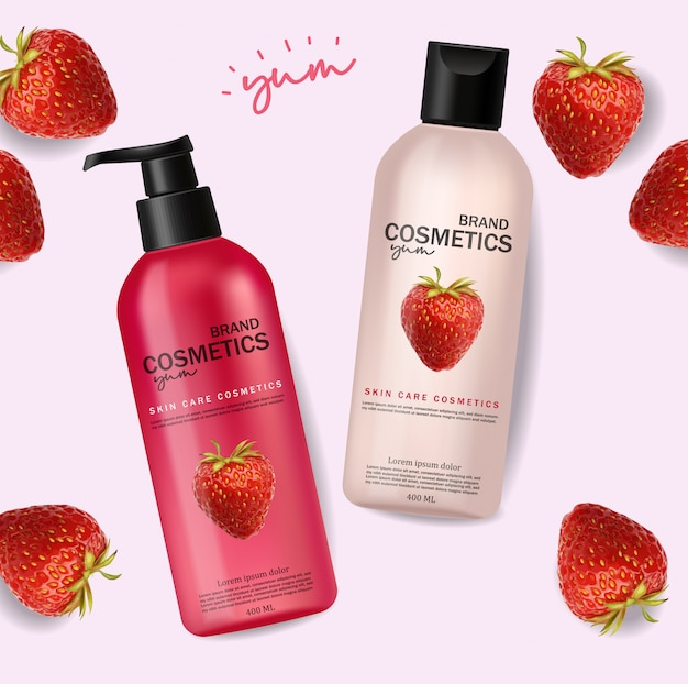 Realistyczne kosmetyki z truskawkami, pielęgnacją skóry, kosmetykami letnimi, szamponem i odżywką, różowe opakowanie butelki