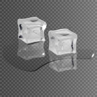 Realistyczne kostki lodu na przezroczystym tle, topniejące w wodzie.
