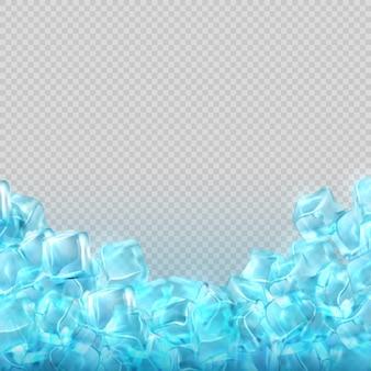 Realistyczne kostki lodu na przezroczystym tle. zimna przejrzysta kostka lodu