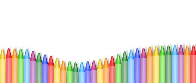 Realistyczne kredki odizolowywać, piękni kolory, ustawiać kredki, szkolny sztandar, ilustracja