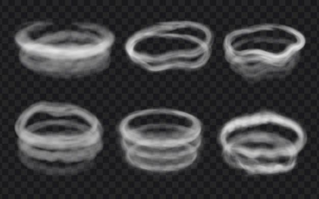 Realistyczne kręgi wiatru, pary lub dymu, zawirowania i pierścienie. okrągły kształt pary, spiralne chmury mgły, koło waporyzacyjne. 3d zestaw wektor efekt mrozu lodu. granica pary po papierosie lub fajce wodnej