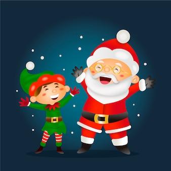 Realistyczne kreskówkowe postacie świąteczne