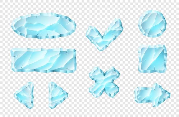 Realistyczne kryształowe przyciski ustawione dla wygody użytkownika w nawigacji aplikacji na komputerze mobilnym. zestaw kreatywnych niebieskich elementów do projektowania aplikacji. ilustracja wektorowa