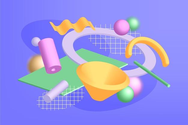 Realistyczne kształty 3d pływające tło