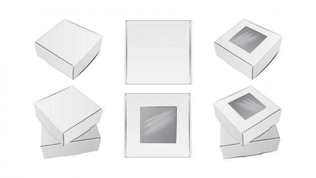 Realistyczne kwadratowe pudełka kartonowe.
