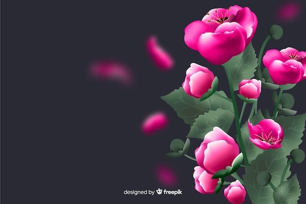 Realistyczne kwiaty na ciemnym tle