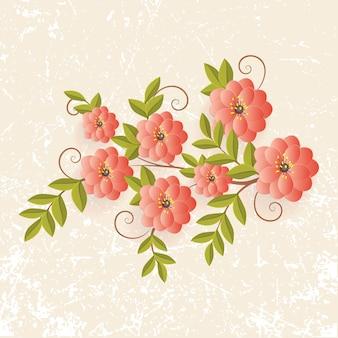 Realistyczne kwiaty z ustawionymi liśćmi