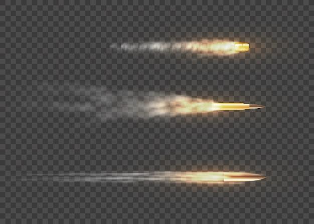 Realistyczne latające pociski w ruchu. ślady dymu na przezroczystym tle. szlaki strzelania z pistoletu. strzały, pociski w ruchu, ślady dymu wojskowego.
