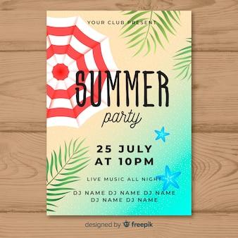 Realistyczne lato party plakat szablon