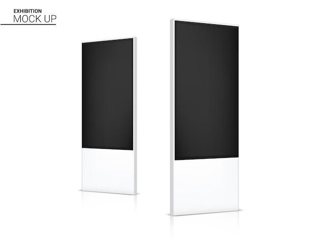 Realistyczne led roll up banner kiosk display 3d pop booth na sprzedaż marketing promocyjny ilustracja tła. projekt koncepcyjny wystawy eventowej.