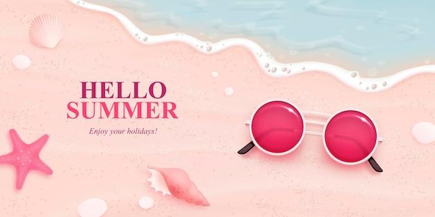 Realistyczne letnie elementy na plaży