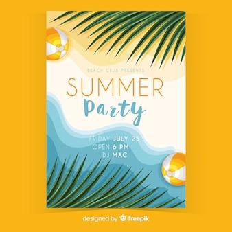 Realistyczne letnie party szablon ulotki