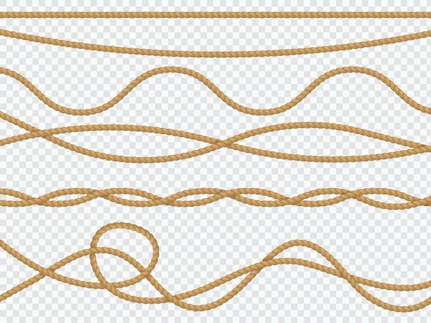 Realistyczne liny z włókien. krzywa lina morska lina prosta lasso granica morska brązowy sznurek jutowy naturalny wiązany pakunek. dekoracje