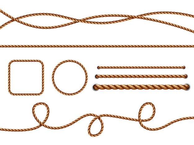 Realistyczne liny. żółte lub brązowe zakrzywione liny żeglarskie z szablonem węzłów. krzywa liny, ilustracja pętli niezawodnej granicy skręcona, brązowa, sznurek, sznurek, dekoracja, koło, juta.