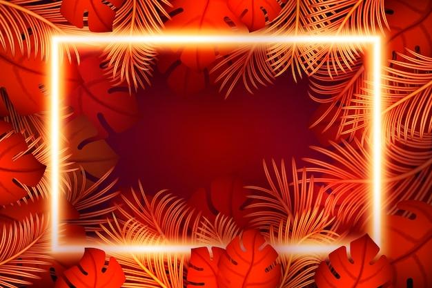 Realistyczne liście z neonową ramką