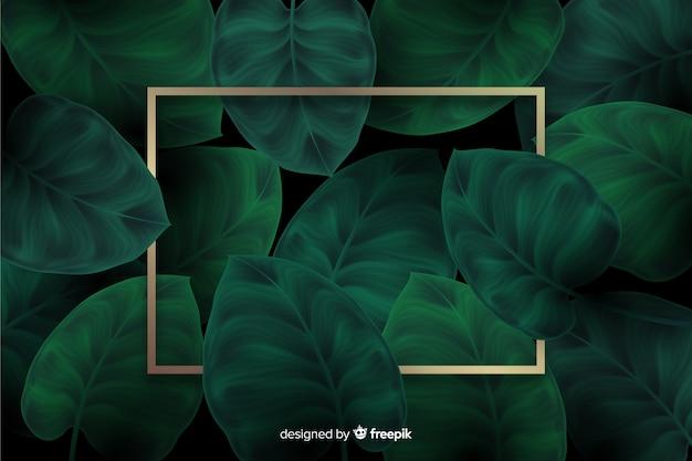 Realistyczne liście z złotym tle ramki