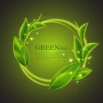 Realistyczne liście zielonej herbaty ze świecącymi falami. streszczenie tło eco