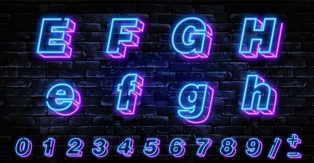 Realistyczne litery neonowe ustawione nad ciemnym murem