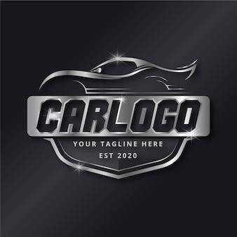 Realistyczne logo marki metalicznego samochodu