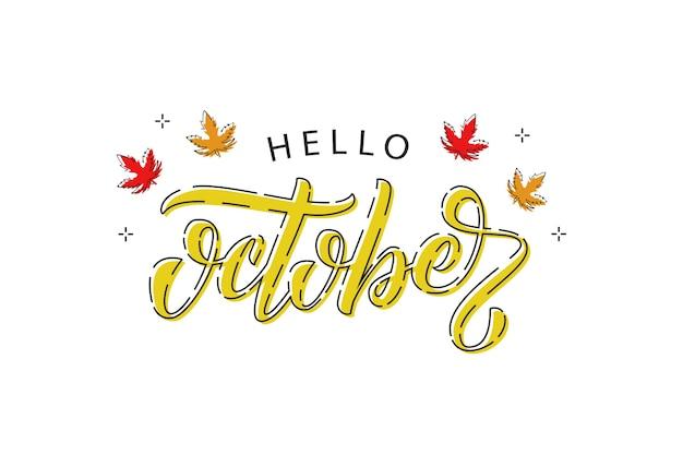 Realistyczne logo typografii hello october z czerwonymi i pomarańczowymi liśćmi klonu i dębu z cienką linią do dekoracji i pokrycia na białym tle. koncepcja szczęśliwej jesieni.