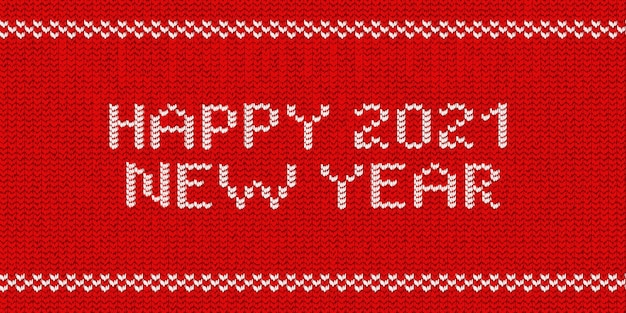 Realistyczne logo typografii z dzianiny na białym tle szczęśliwego nowego roku 2021 do dekoracji szablonu i zakrycia zaproszenia na tle czerwonego swetra