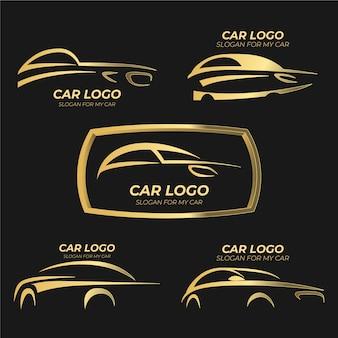 Realistyczne logo z metalicznymi samochodami