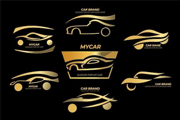Realistyczne logo ze złotymi samochodami