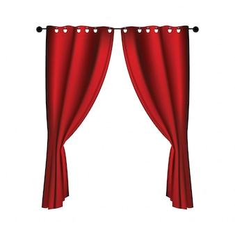 Realistyczne luksusowe czerwone aksamitne zasłony